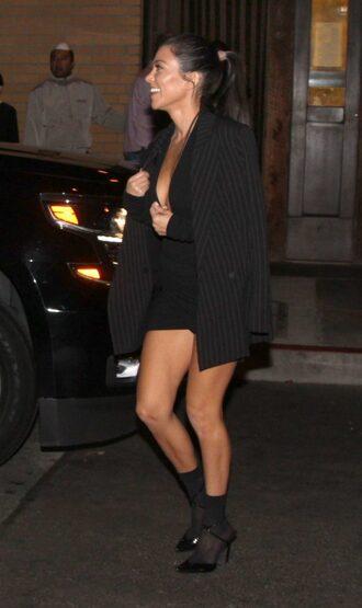 shoes all black everything kourtney kardashian kardashians streetstyle blazer jacket mini dress black dress pumps socks