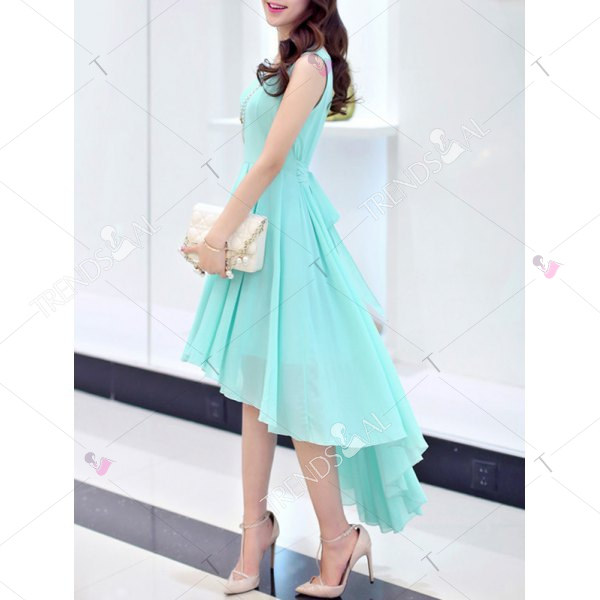 Chic Scoop Neck Sleeveless Asymmetrical Solid Color Women's Dress