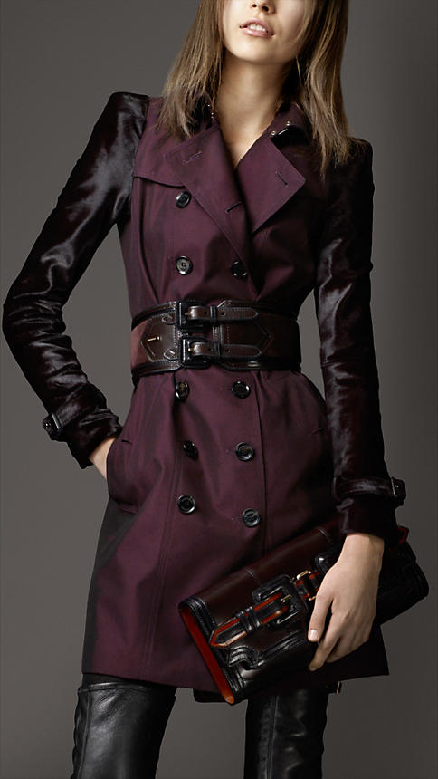 Mid-Length Cotton Gabardine Ponyskin Sleeve Trench Coat   Burberry a56dfa7738d