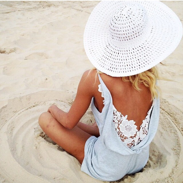 one piece grey romper tank top clothes hat lace straw hat jumpsuit lace jumpsuit lace romper dress romper cute cute dress lace dress lace up pretty white dress back summer light blue white beach pinterest blue romper