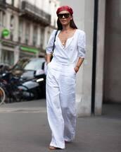 jumpsuit,white jumpsuit,wide-leg pants,sandals,sunglasses,chain necklace