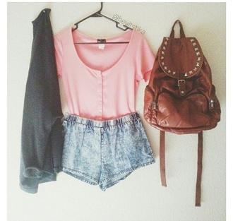 shirt pink soft t-shirt baggy shirt shorts sweater