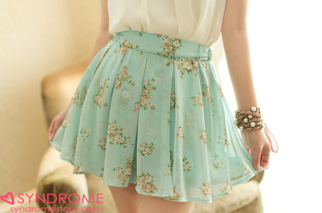 Floral chiffon skirt from syndrome on storenvy