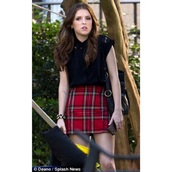 skirt,red,plaid,flannel,pitch perfect,shirt,red mini skirt