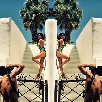 swimwear green shay mitchell instagram one piece swimsuit summer