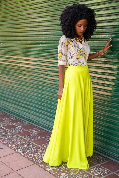 skirt girly blouse spring summer fashion outfit yellow neon button up blouse print long sleeve shirt roll up sleeves