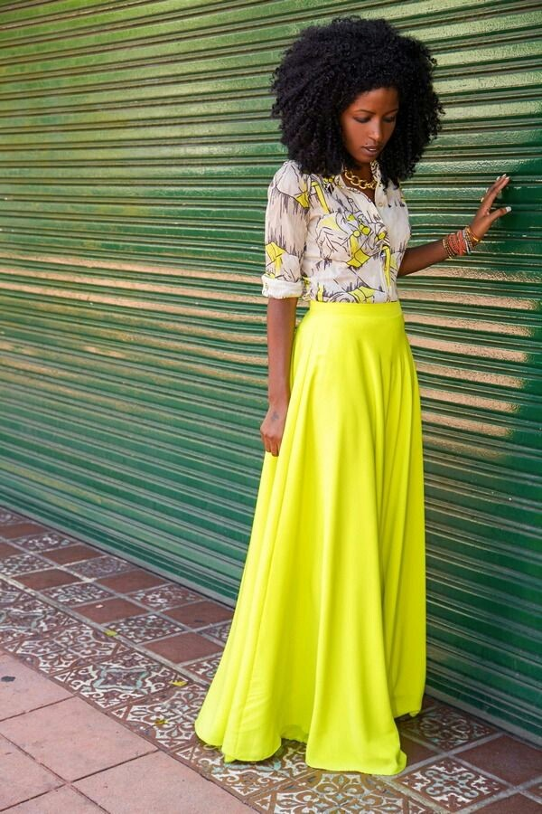 Skirt Outfit Fashion Girly Neon Yellow Button Up