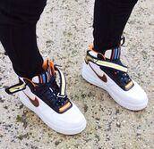 mens shoes,mens sneakers,high top sneakers,sneakers,nike sneakers,mens high top sneakers,shoes,nike,pretty,beautiful,like,wish,nike air force 1,leggings,colorful nikes,yellow,orange,retro,nike air,shoes nike,white,black,colorful,cute,forces,brown white and orange shoes,nike shoes