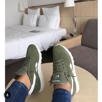shoes reebok khaki green sneakers sneakers reebok classic green white fashion vibe trainers olive reebok classics low top sneakers