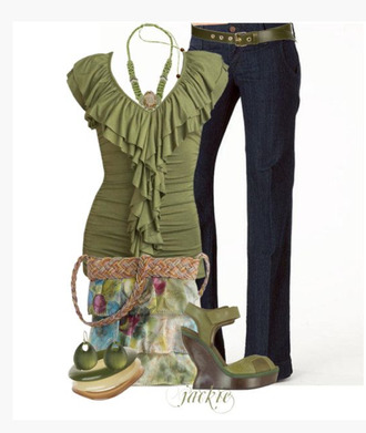 shirt top green top ruffle ruffled top cap sleeves form fitting jeans layered wedges ankle strap wedges bag clothes outfit