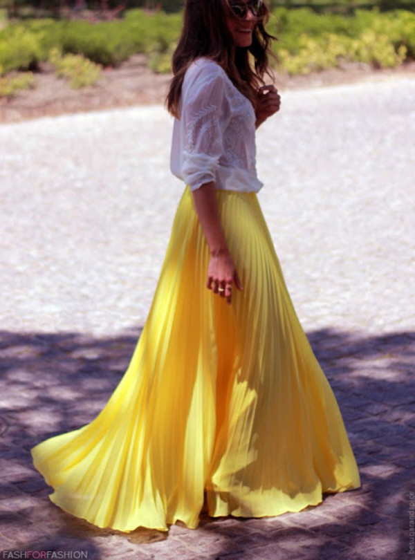 skirt maxi skirt yellow