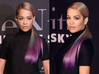 make-up hair purple highlights eyeliner rita ora ponytail
