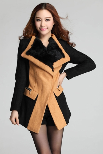 Color Block Wool Coat with Fur Neck [FEBK0435]- US$74.99 - PersunMall.com