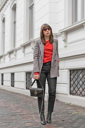 jacket tumblr top red top denim jeans black jeans blazer grey blazer boots bag black bag sunglasses