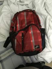 bag,nike,backpack,stripes,red