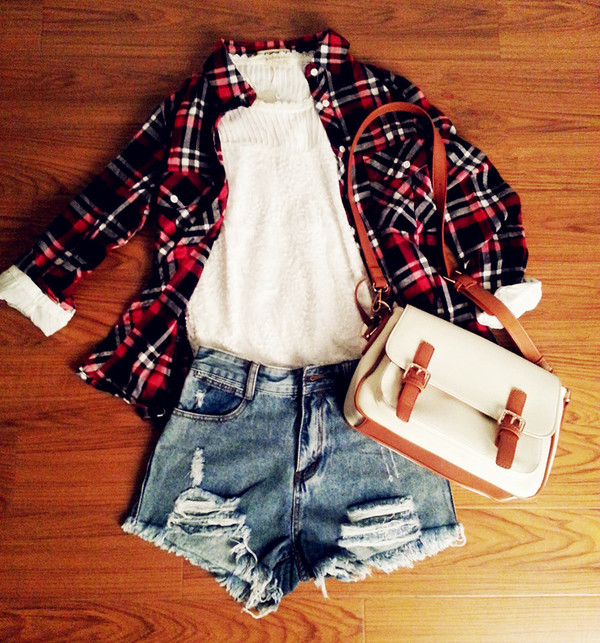 oasap oasap_fashion shirt denim shorts jeans ripped jeans ripped shorts plaid plaid skirt chiffon chiffon blouse bag outfit fall outfits winter outfits fashion clothes top bottoms