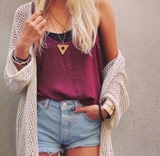 cardigan tank top shorts tumblr outfit summer top summer shorts shirt top jewels