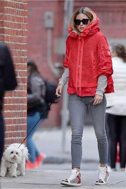 jacket blogger streetstyle red jeans fall outfits olivia palermo