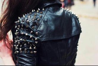 jacket leather jakcet studs black