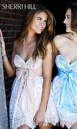 Sherri Hill Party Dresses, Short Strapless Prom Dresses- PromGirl