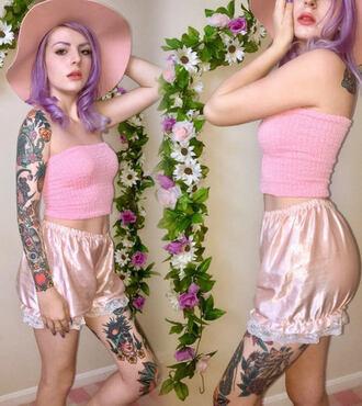 shorts lace short pink light pink pastel pink rose pastel goth lolita ruffle satin soft grunge