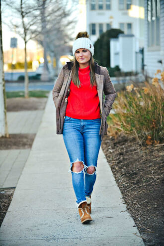 to be bright blogger coat sweater shoes hat winter outfits red sweater beanie boots