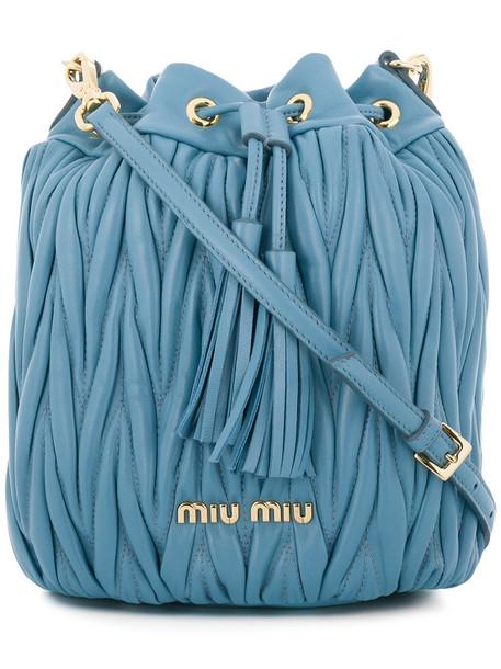 Miu Miu women bag bucket bag leather blue
