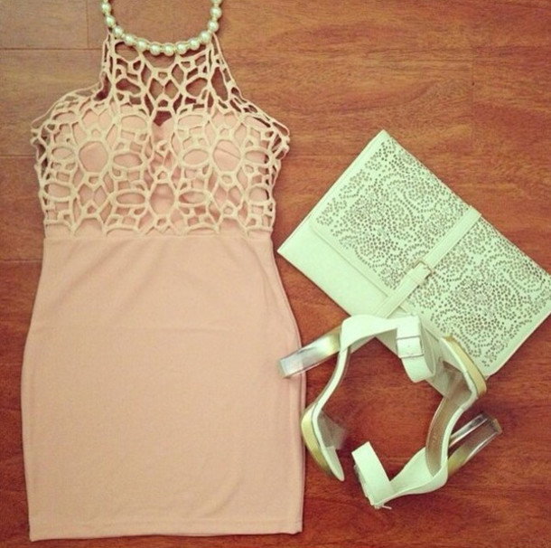 dress lace cut-out pearl clutch nude