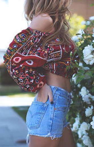 tank top boho crop tops red jeans