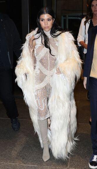jumpsuit romper kourtney kardashian beaded embellished dress embroidered embellished pearl kardashians fashion week 2016 fur fur coat boots ny fashion week 2016