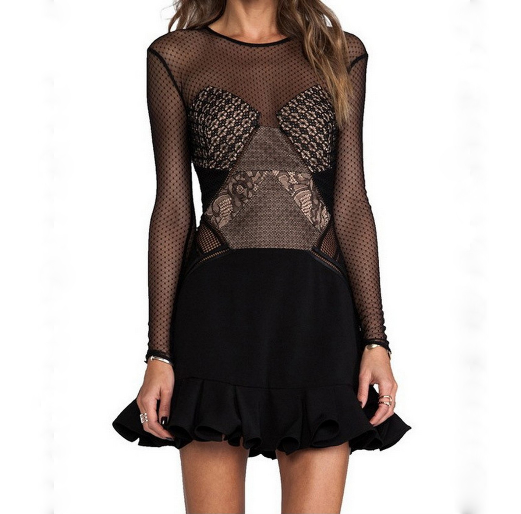 Sheer lace black ruffle dress · luxe muse · online store powered by storenvy