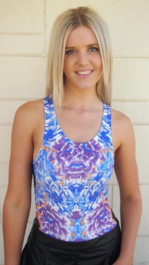 Blue Floral Print Bodysuit