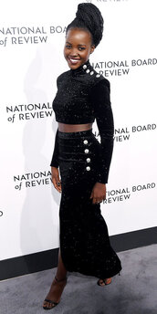 skirt,top,crop tops,black dress,two-piece,two piece dress set,lupita nyong'o,midi skirt,all black everything