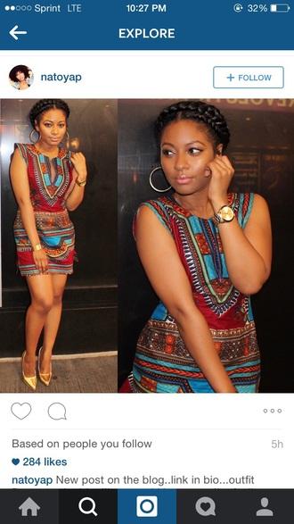 dress multicolor african american natural hair