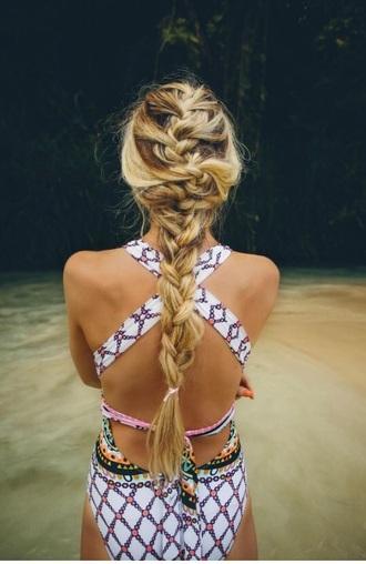 swimwear bohemian open back crossed back one piece swimsuit tribal pattern