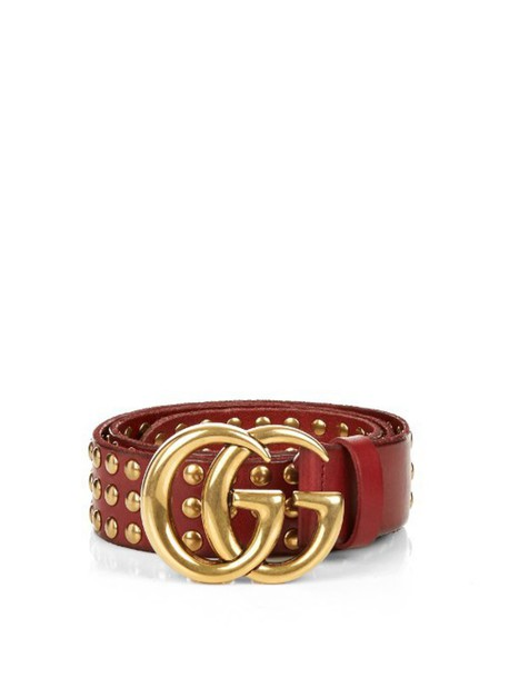 3ae2696f213 GUCCI GG-logo studded-leather belt in red - Wheretoget