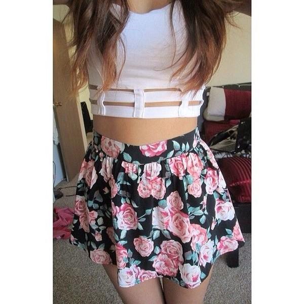 skirt floral white crop tops pastel hipster summer light pink black skater skirt tank top shirt top cute shirt jewels