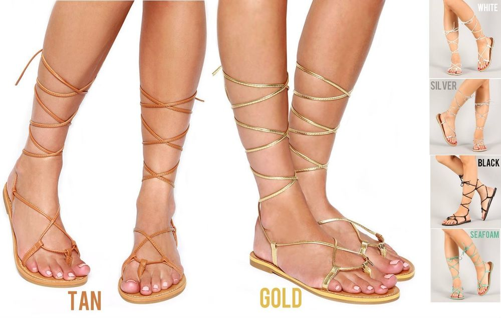 ecade67d7a0 Lace Up Metallic Leg Wrap Thong Self Tie Flat Gladiator Flat Sandals ...