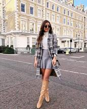 skirt,grey skirt,knee high boots,heel boots,plaid,coat,mini skirt,white sweater,grey bag