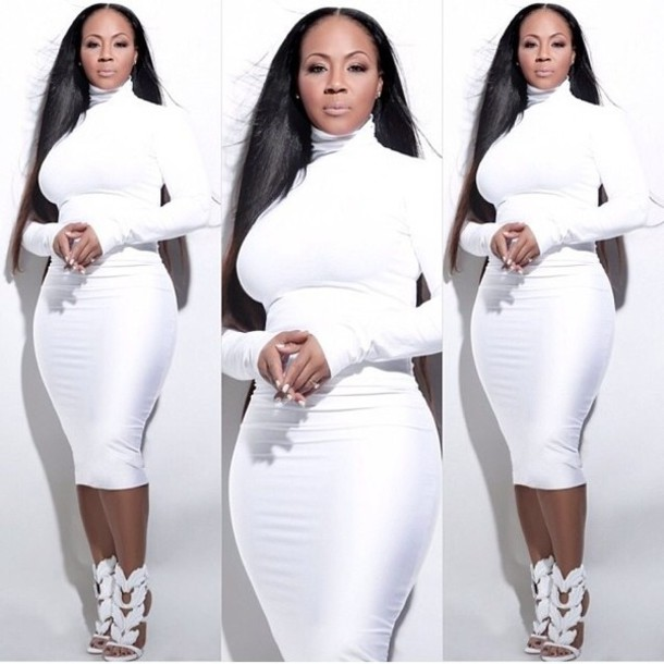 shoes dress erica campbell white dress turtleneck white skirt plus size dress white turtle neck white turtleneck dress