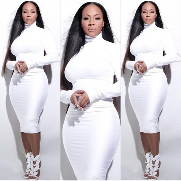 Missguided - Crepe High Neck Midi Dress Side Split White