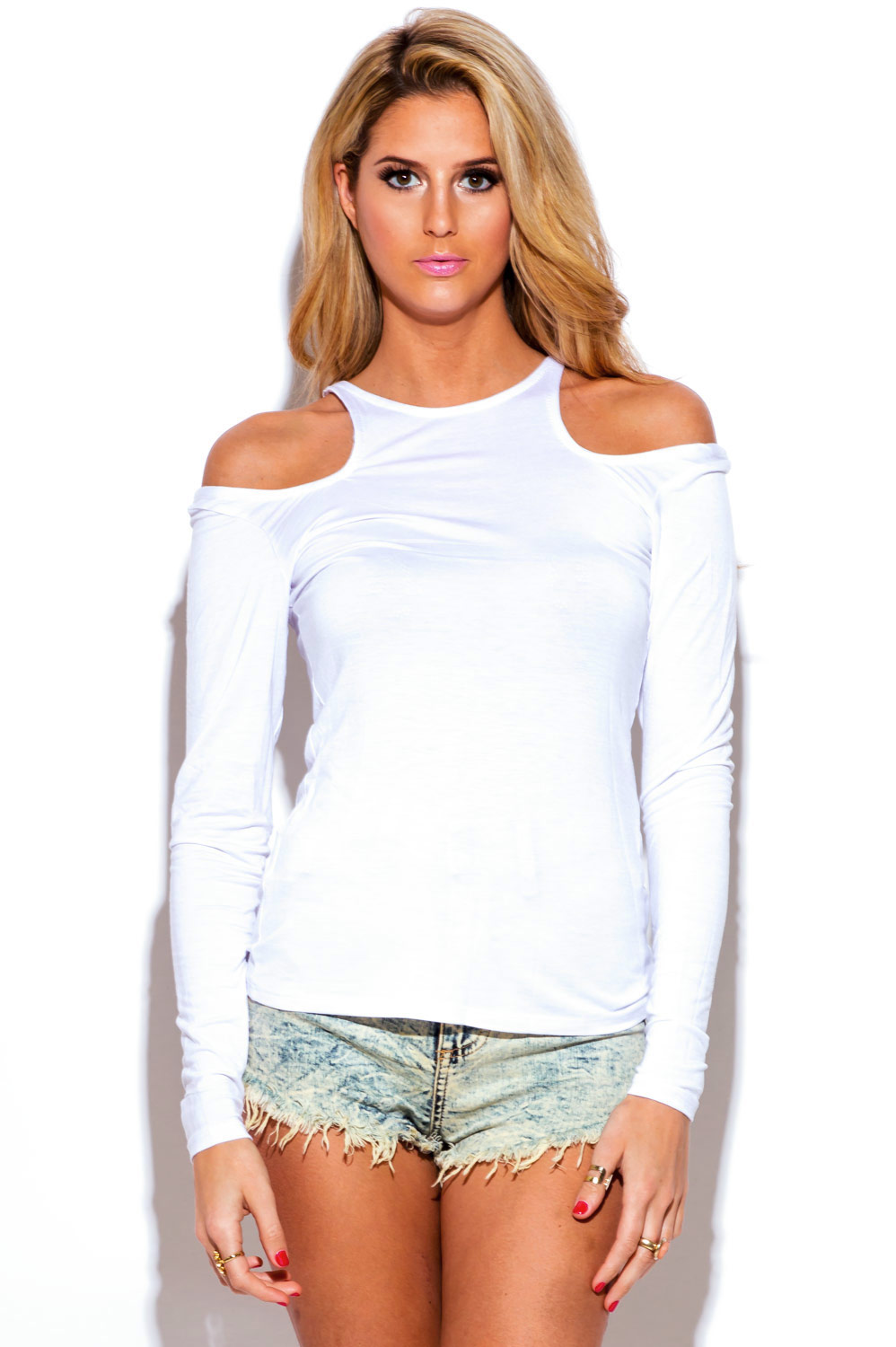 White cut out cold shoulder long sleeve fitted tee shirt for Long sleeve fitted tee shirt