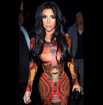 dress kim kardashian clothes red sexy kim kardashian dress long sleeve dress industry midi dress bodycon dress red dress yellow orange dress hollywood bandage dress full sleeve dress aztec