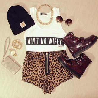 shoes combat boots ain't no wifey tank top gold chain gold boots ankle boots leopard print shorts chain beanie sunglasses round sunglasses dope cute outfit cute outfits streetstyle streetwear shirt hat t-shirt white jeans single short
