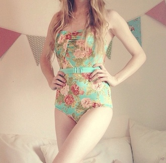 swimwear floral one piece swimsuit one piece cute swimsuit flowers strapless strapless bathing suit colorful