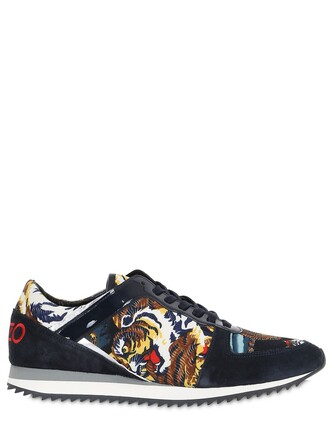 suede sneakers tiger tiger print sneakers print suede satin black shoes