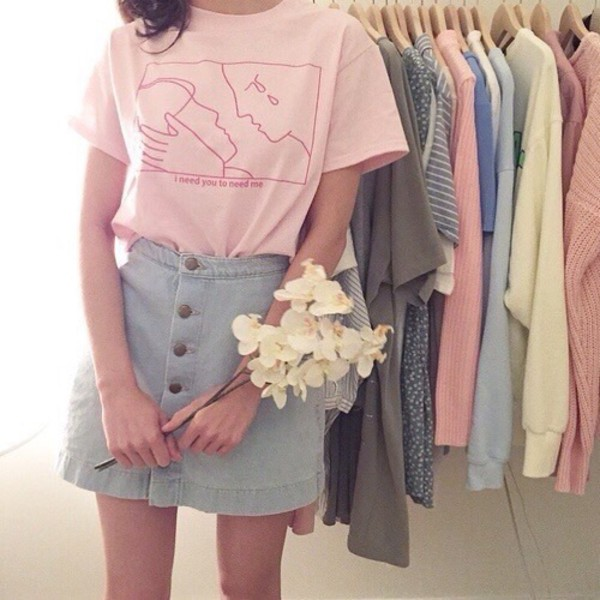 Skirt denim skirt shirt pink aesthetic pink t-shirt ...