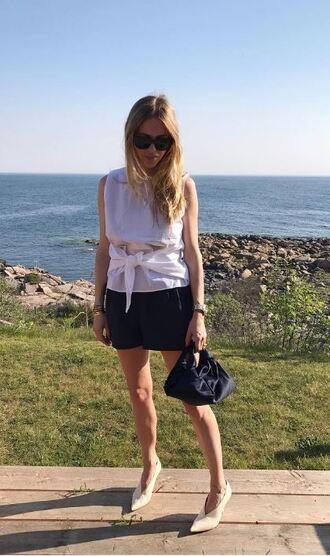 blouse top skirt instagram blogger pernille teisbaek white white top shorts