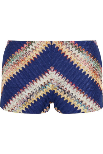 shorts knit crochet blue