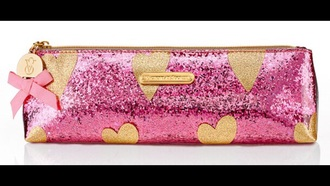 bag glitter girly pink heart pencil case